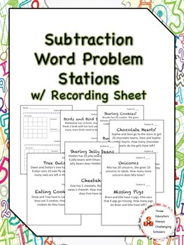 Subtraction Word Problem Stations w/ Recording Sheet