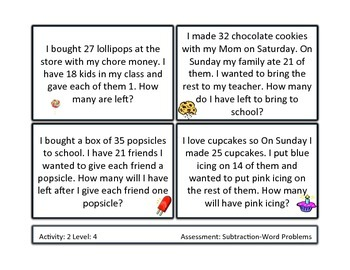 Subtraction Word Problem Unit Differentiated/Formative Based Instruction
