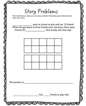 Subtraction Word Problem Using Ten Frame