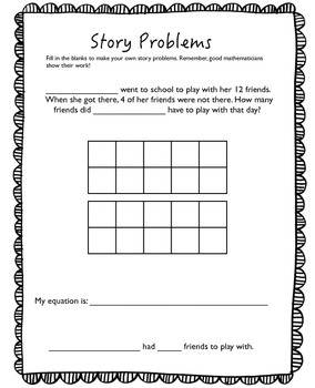 Subtraction Word Problem Using Ten Frame