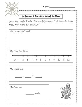 Subtraction Word Problem Worksheets : Spiderman Theme