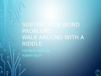 Subtraction Word Problems 20 or less Walk Around or Gallery Walk with a Riddle