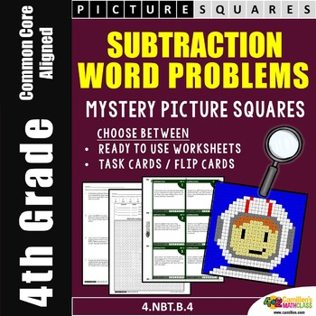 Subtraction Word Problems, 4th Grade Coloring Mystery Pictures Activity