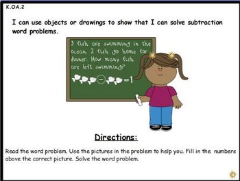 Subtraction Word Problems: Activeboard Center (K.OA.2)