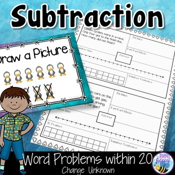 Subtraction Word Problems within 20 Change Unknown Think Boards