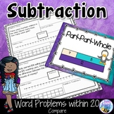 Subtraction Word Problems within 20 Compare Think Boards