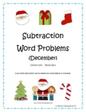 December Subtraction Word Problems