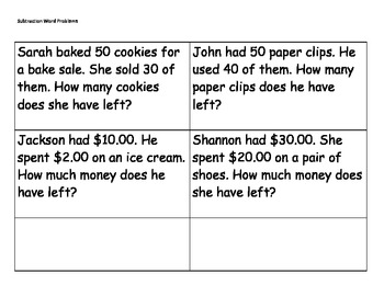 Subtraction Word Problems: Dynamic subtraction