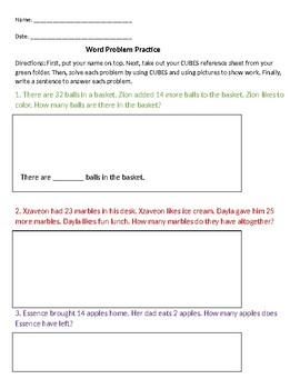 Subtraction Word Problems EDITABLE