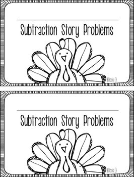 Subtraction Word Problems FREEBIE - November Mini-Book