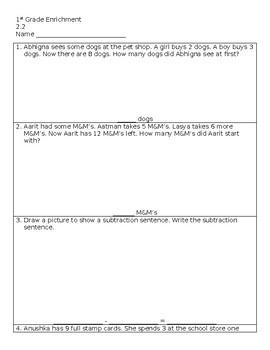 Subtraction Word Problems - Go Math! 2.2 Enrichment