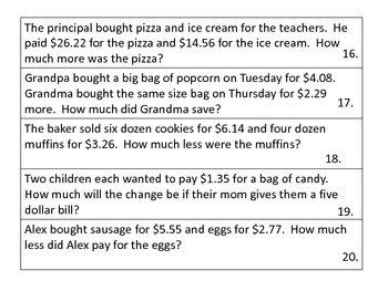 Subtraction Word Problems--Grocery Store Theme