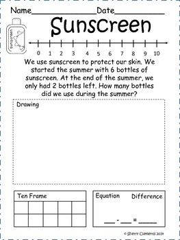 june subtraction word problems by sherry clements tpt. Black Bedroom Furniture Sets. Home Design Ideas