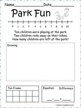 Summer Subtraction Word Problems (June)