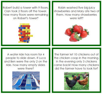 Subtraction Word Problems - Level 1 (color-coded)