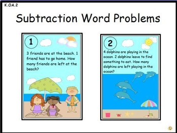 Subtraction Word Problems: Math Center Activity (K.OA.2)