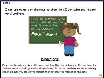 Subtraction Word Problems: Math Center Activity (K.OA.2)