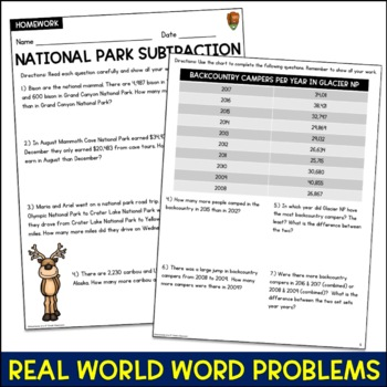 Subtraction Word Problems (National Parks)