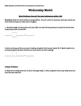 Subtraction Word Problems, One & Two Step
