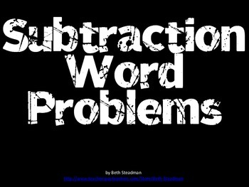 Subtraction Word Problems PowerPoint