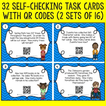 Subtraction Word Problems QR Code Task Cards