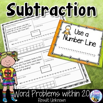 Subtraction Word Problems within 20 Result Unknown Think Boards