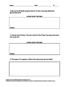 Subtraction Word Problems Review Set #1