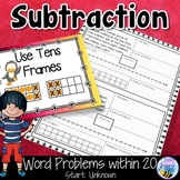 Subtraction Word Problems within 20 Start Unknown Think Boards