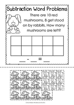 Subtraction Word Problems - Subtraction to 10 - Cut and Paste -  Grade One