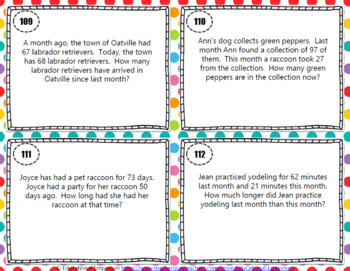 Subtraction Word Problems Task Cards ENDLESS Bundle
