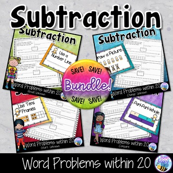 Subtraction Word Problems Think Boards Bundle