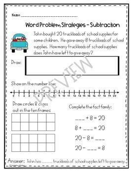 Subtraction Word Problems Using Multiple Strategies