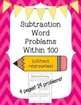 Subtraction Word Problems Within 100 (No Regrouping)