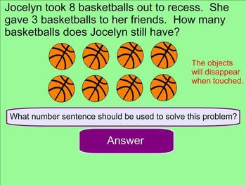 Subtraction Word Problems Within 20 - Smartboard