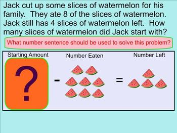 Subtraction Word Problems Within 20 With Missing Minuend - Smartboard