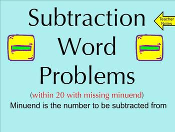 Subtraction Word Problems Within 20 With Missing Minuend -