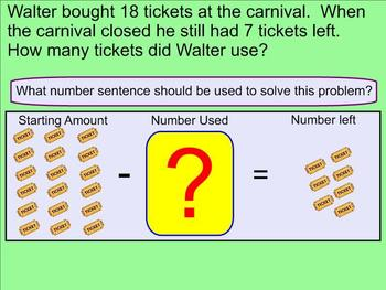 Subtraction Word Problems Within 20 With Missing Subtrahend - Smartboard