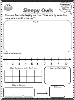 Subtraction Word Problems Worksheets for Kindergarten aligned with Common Core
