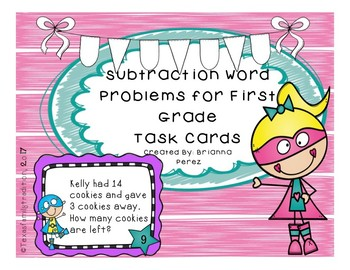 Subtraction Word Problems for First Grade Task Cards
