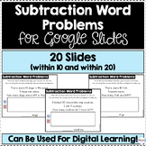 Subtraction Word Problems for Google Slides (Differentiate