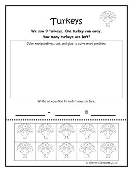 November Subtraction Word Problems with Manipulatives