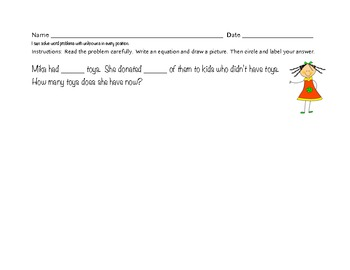 Subtraction Word Problems with Unknowns in all positions- K, 1 and 2 Common Core