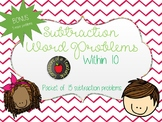 Subtraction Word Problems within 10 (15 problems)- Multiple Strategies