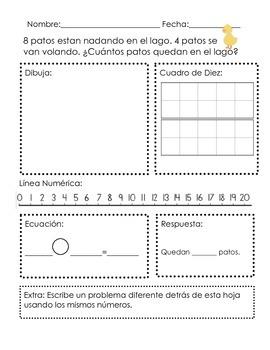 Problemas de Resta hasta el 20-Subtraction Word Problems within 10 & 20-SPANISH