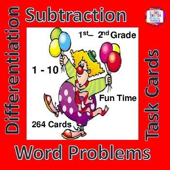 Subtraction Word Problems/Task Cards/Differentiation