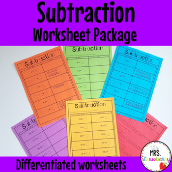 Subtraction Worksheet Package - Grade 1/ Year 1