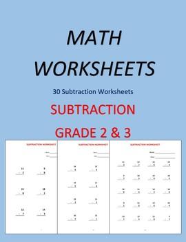 Subtraction Workbook (30 Worksheets)