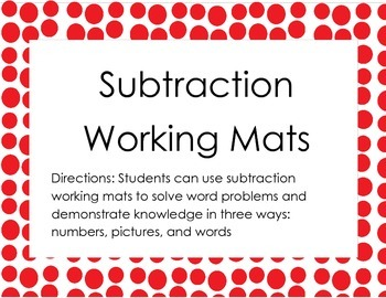 Subtraction Working Mats