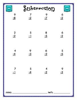 Subtraction Worksheet - 1 x 1