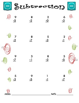 Subtraction Worksheet - 1 x 1 CHRISTMAS THEME